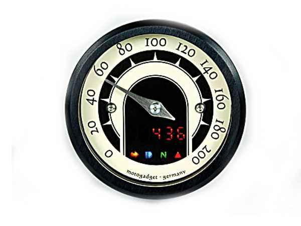 Motoscope tiny speedster analoger 49mm tacho schwarzer ring cruiser customparts online shop